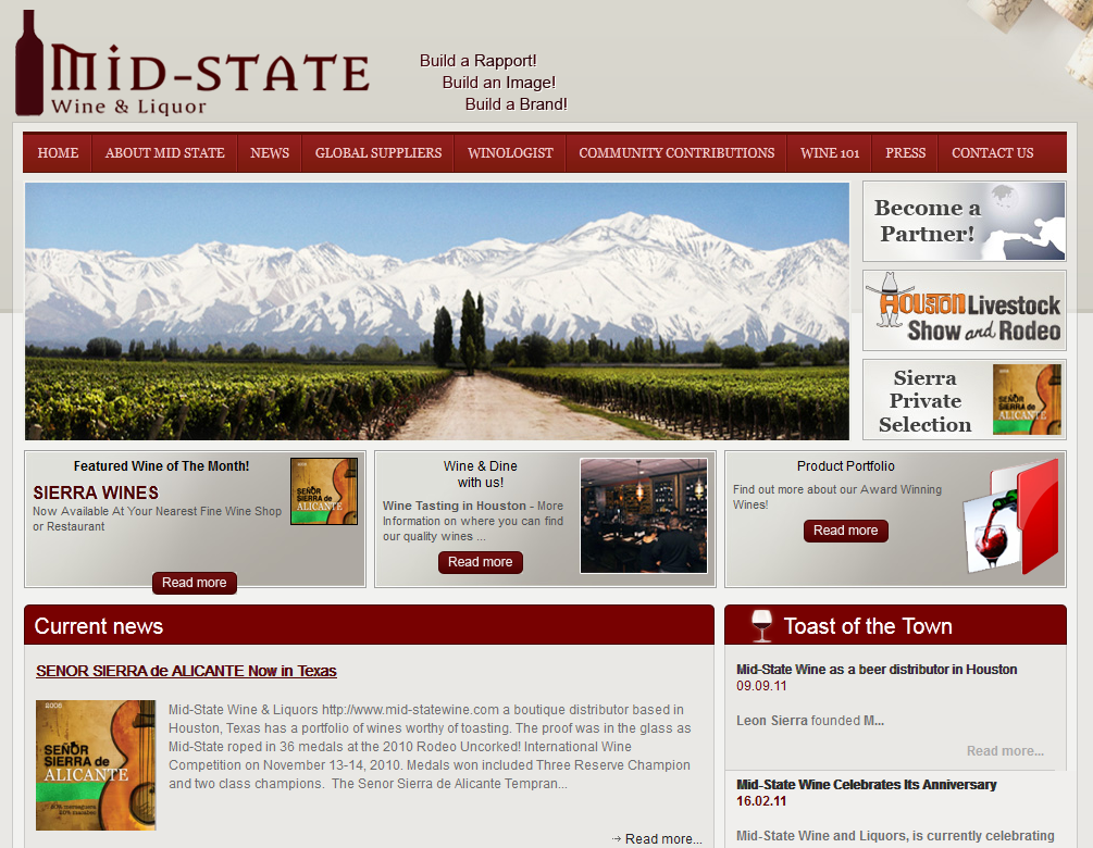 website for wine wholesaler and distributor